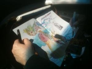 Antes de irse de Chicago, Juan Carlos Mestre nos ilustra y dedica uno de sus libros.