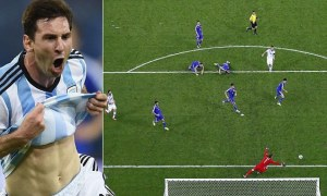 Messi, gol entre 5 rivales.