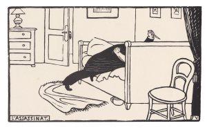 """Ilustración """"El asesinato"""" de Vallotton, incluida en el volumen de micronovelas de Fénéon"""